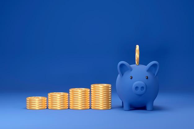 Piggy bank and golden dollar coins