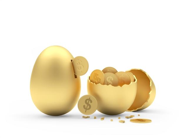 Piggy bank of golden egg and broken egg with dollar coins