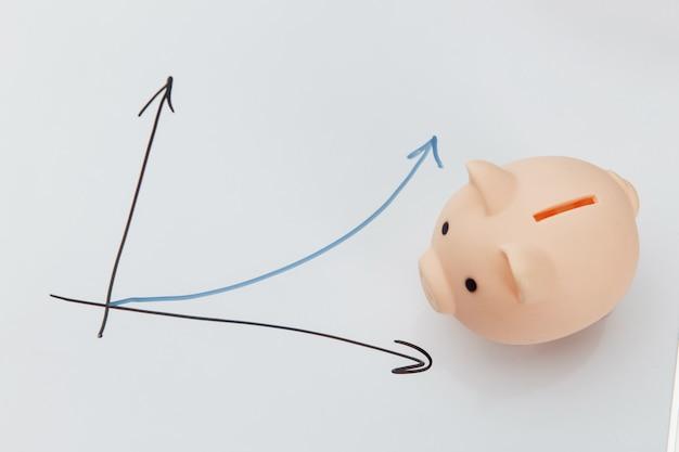 Piggy bank and graph.