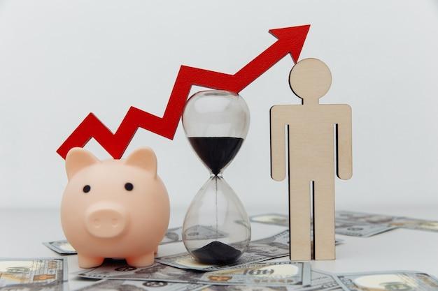 돼지 저금통, 모래 시계 및 달러 지폐 클로즈업에 위쪽 화살표와 함께 나무 사람. 투자 및 시간 개념.