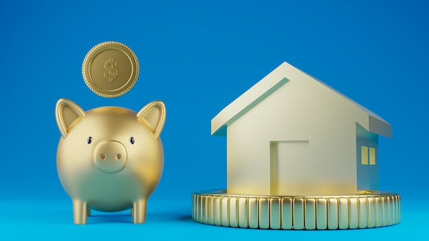 A piggy bank and a house model