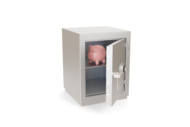 Piggy bank inside a safe box isolated on a white surface.