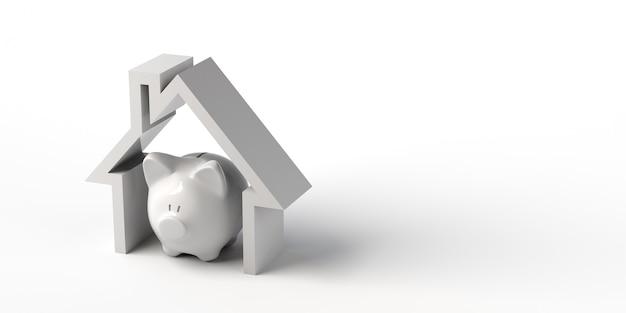家の中の貯金箱不動産お金を節約バナー背景3dイラスト