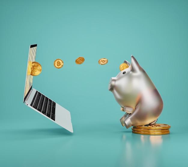 돼지 저금통은 파란색 벽에 노트북으로 비트 코인을 거래하고 있습니다. 인터넷 뱅킹 및 돈 절약 개념.