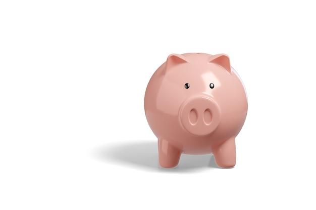 白で隔離された貯金箱。貯蓄の概念。