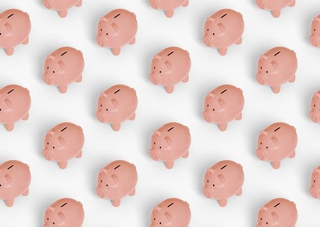 貯金箱の等尺性のシームレスパターン。
