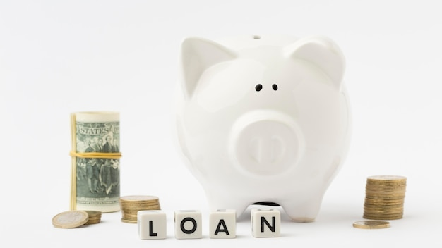 Piggy bank money deposit and loan
