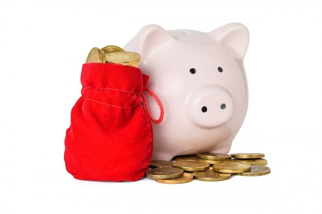 동전과 붉은 천으로 가방에 돼지 저금통 동전 화이트 절연 가득합니다. 현금 절약의 개념.