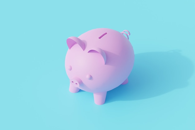 Piggy bank pig for savings single isolated object. 3d rendering