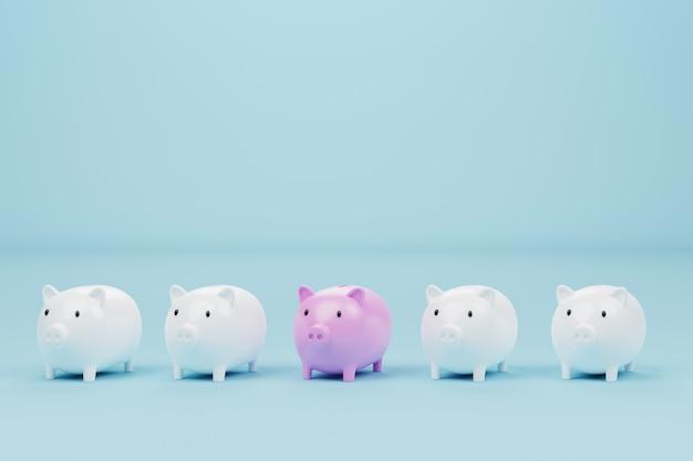 Копилка розового цвета выдающийся среди копилку белого цвета на голубом фоне. концепция экономии денег и инвестиций. 3d иллюстрация