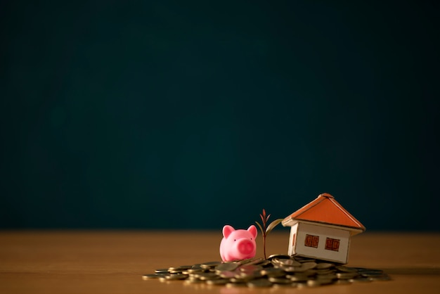 A piggy bank put on the stacking gold coins and blackboard house