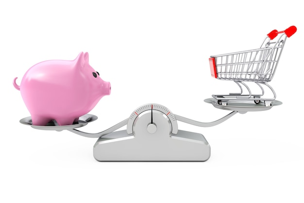 Piggy bank and shopping cart balancing on a  simple weighting scale on a white background. 3d rendering.