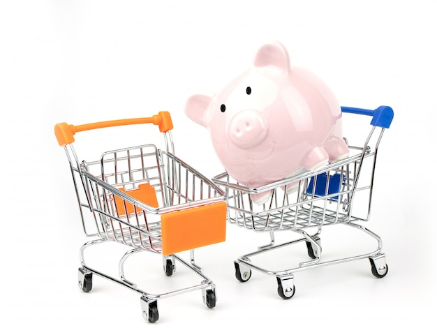 Piggy bank in a shopping cart
