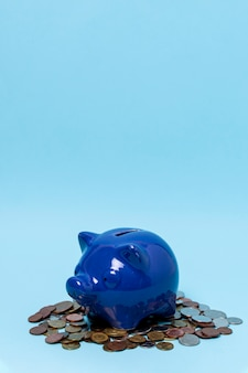 Piggy bank above a stack of coins