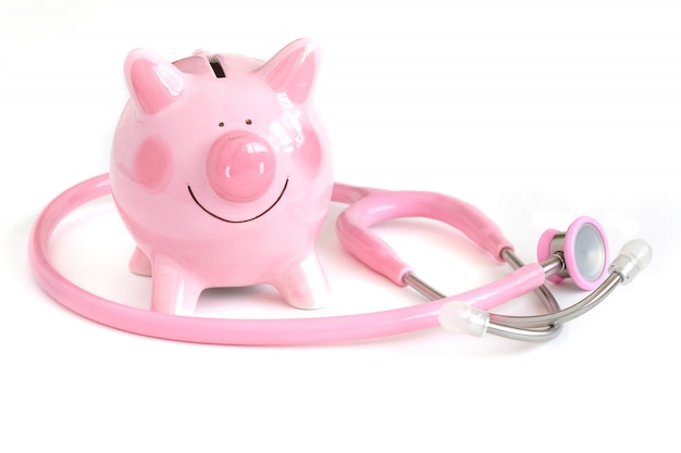 A piggy bank and a stethoscope