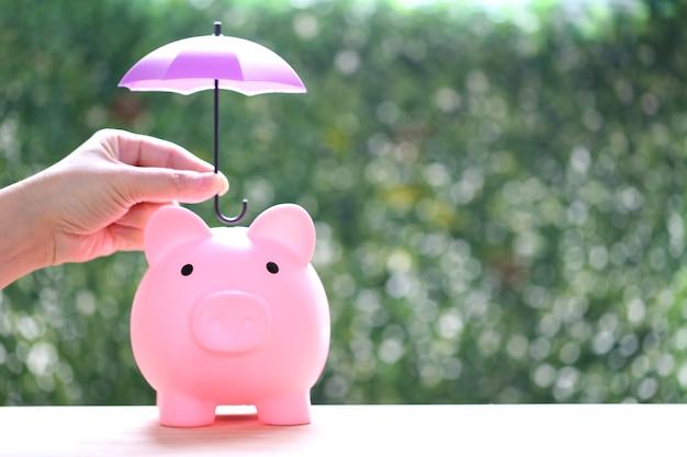 自然な緑の背景に傘の下の貯金箱