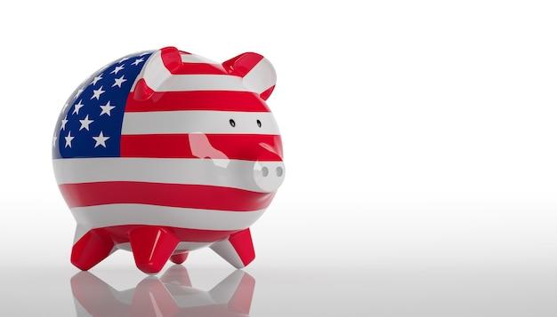 돼지 저금통 - 미국 국기입니다. 3d 렌더링