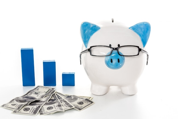 Piggy bank wearing glasses with dollars and blue graph model