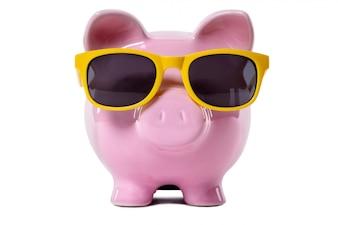 Piggy Bank wearing yellow sunglasses