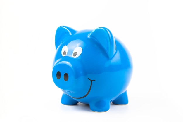 Piggy bank on white background. finance savings and money wealth concept.