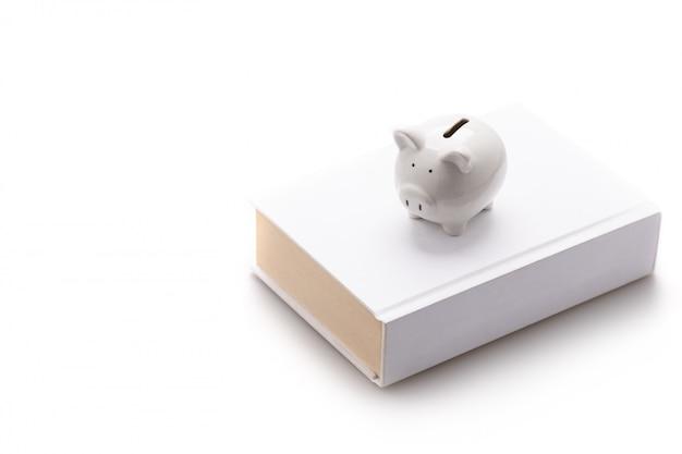 Копилка, белая свинья, надеть белую книгу, изолированные на белой стене и копировать пространство, сохранение и инвестиции концепции