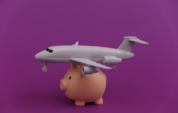 Piggy bank with an airplane on a purple.
