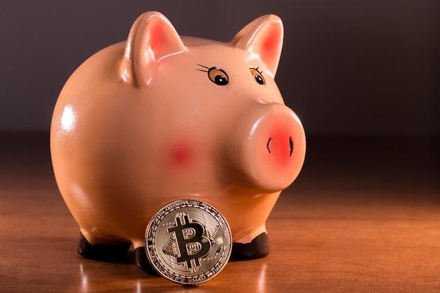 Piggy bank with bitcoin
