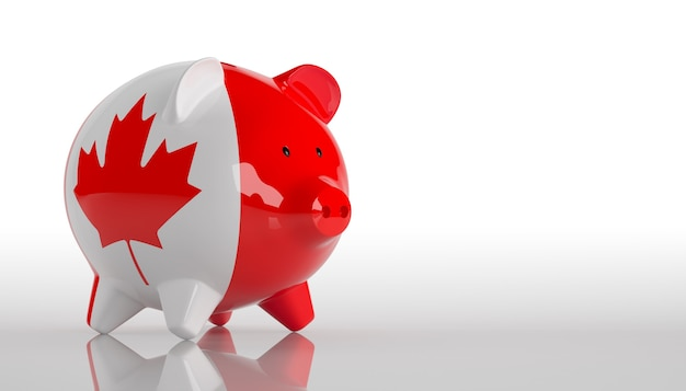 Piggy bank with canadian flag. 3d rendering