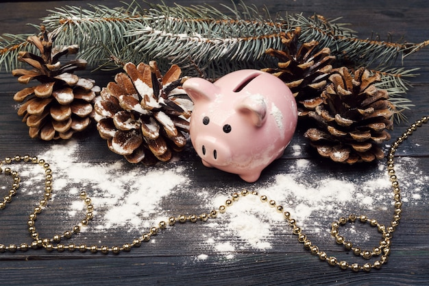 Piggy bank with christmas decoration