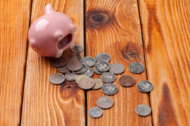 Piggy bank with coin on wooden surface table