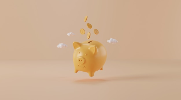 Piggy bank with coins 3d illustration.