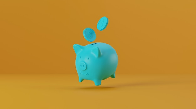 Piggy bank with coins on yellow background.