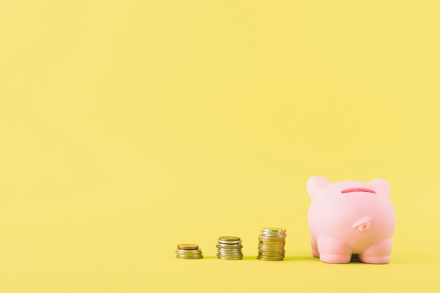 Piggy bank with columns of coins