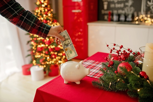 Piggy bank with dollars banknote in festive kitchen