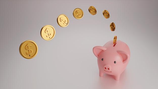 Копилка с падающей золотой монетой, экономия или экономия денег концепция, 3d визуализация.