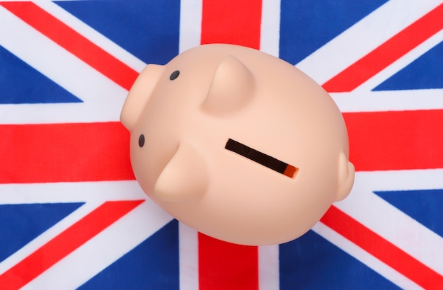 Piggy bank with the flag of great britain.