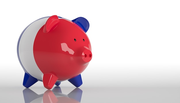 Piggy bank with france flag. 3d rendering
