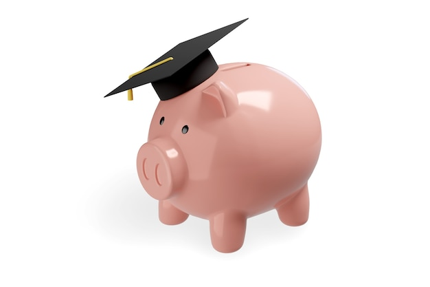 Piggy bank with graduation cap isolated