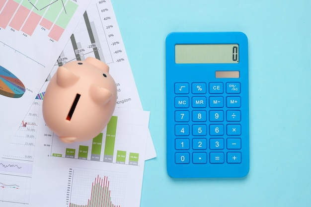 Piggy bank with graphs and charts, calculator on a blue