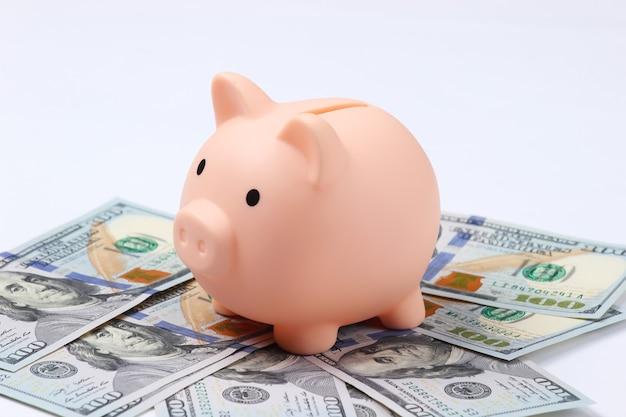100 달러 지폐 근접 촬영으로 돼지 저금통입니다.