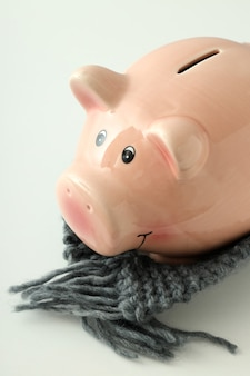 Piggy bank with knitted scarf on white background.