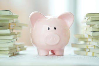 Piggy bank with lots of money
