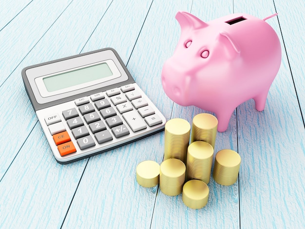 Piggy bank with money and calculator.