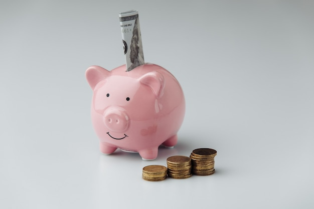 Piggy bank with money. finance and business concept.