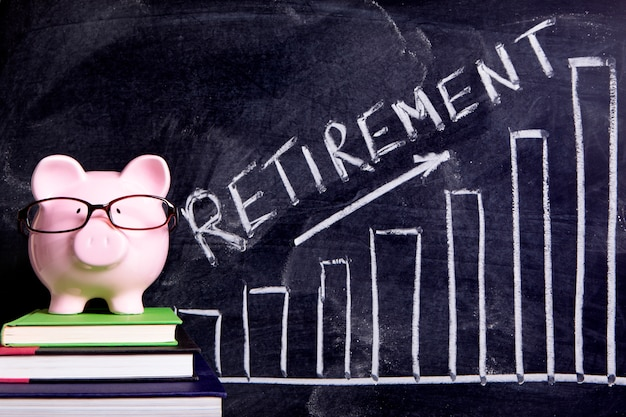 Piggy bank with retirement savings message