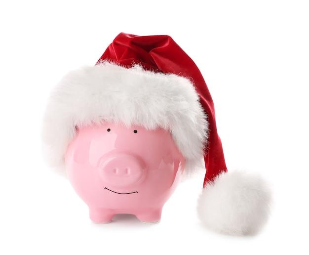 산타 모자 배경으로 돼지 저금통