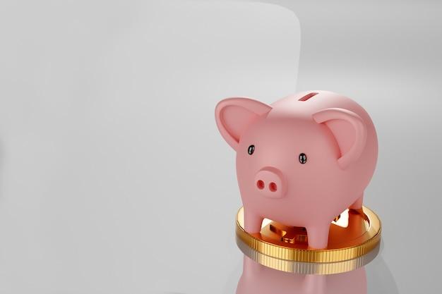 Копилка с стеком золотой монеты, 3d визуализации.
