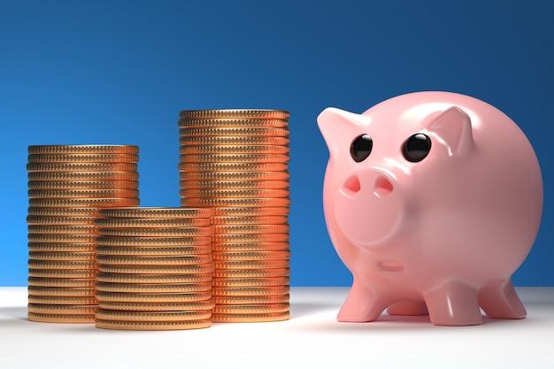青色の背景のビジネスの富のメタファーに積み上げられたコインで貯金