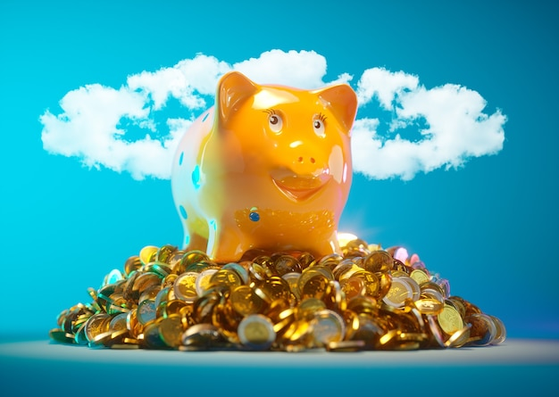 Piggy bank with stock of money and clouds in halo shape in background
