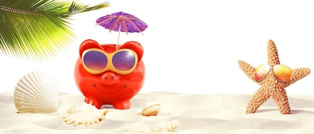 열 대 해변-여름 휴가에 선글라스와 돼지 저금통.